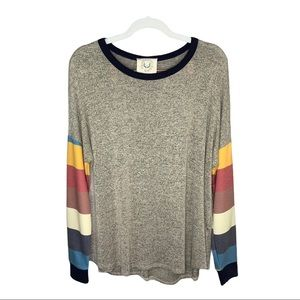 Fantastic Fawn Striped Long Sleeve Top Size Small